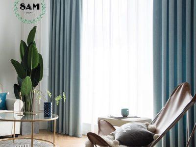 Rèm vải xanh mint Sam Decor - Rèm vải giá tốt